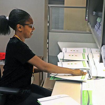 A consumer serves at a medical office